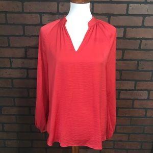 Ann Taylor Loft Tunic Top Red Sz Large Poet Sleeve